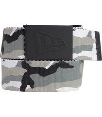 new era men's rubberized buckle snow camo military-style web belt