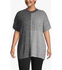 lane bryant women's mixed knit mock neck poncho 22/24 black/ grey marl/ /