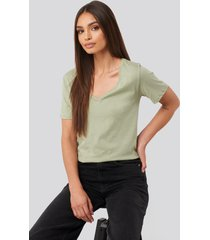 na-kd basic v-neck tee - green