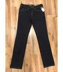 mossimo womens mid rise straight super stretch denim jean size:0r waist:25