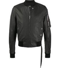 rick owens drkshdw coated bomber jacket - black