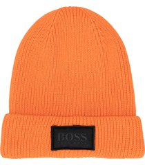 boss kidswear ribbed knit cotton beanie - orange