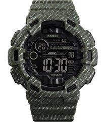 reloj deportivo hombre alarma semana digital skmei 1472 verde militar