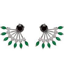 brinco ear jacket the ring boutique cristais verde esmeralda zp ródio ouro branco - kanui