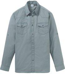 camicia in twill con maniche regolabili (grigio) - john baner jeanswear
