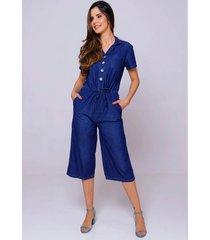 macacão jeans com manga sob feminino pantacourt com bolsos