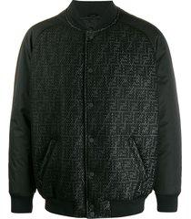 fendi ff reflective motif bomber jacket - black