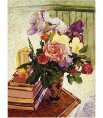 "david lloyd glover cut iris and roses canvas art - 20"" x 25"""