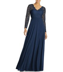 women's dessy collection long sleeve lace & chiffon a-line gown, size 0 - blue