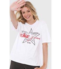 camiseta coca-cola jeans lettering branca - branco - feminino - algodã£o - dafiti