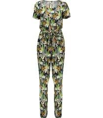 geisha 01142-20 999 jumpsuit s/s aop giraffe black/camel combi
