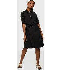 calvin klein tencel 3/4 slv zip up mini dress loose fit dresses