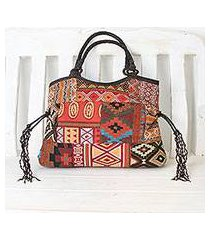 leather accented cotton blend shoulder bag, 'chiang mai patchwork in red' (thailand)