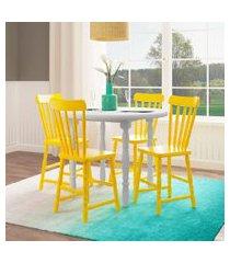 conjunto de mesa lusha com 4 cadeiras dalas branco e amarelo