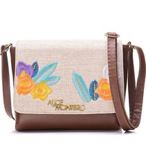bolsa alice monteiro com tampa bordado floral - marrom - kanui