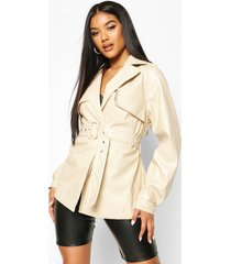 belted faux leather trench coat, cream
