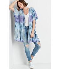 maurices womens blue & purple tie dye kimono gray