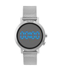 relógio feminino euro digital - eubj3407ab3p prateado