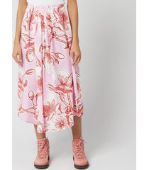 stine goya women's blossom jasmine silk midi skirt - pink - xs