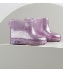 bota galocha infantil baby club com glitter e luz rosa