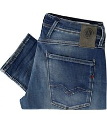 replay jeans hyperflex anbass slim fit midwash jeans m914