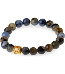 jean claude men's dell arte 24k yellow gold, sterling silver, madgascar blue agate & crystal bead bracelet
