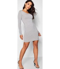 long sleeve scoop neck bodycon dress, grey marl