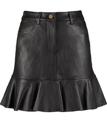 michael michael kors leather mini skirt