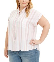 style & co plus size striped camp shirt, created for macy's