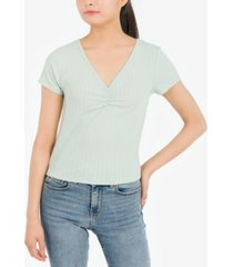 hippie rose juniors' pointelle ruched-front top