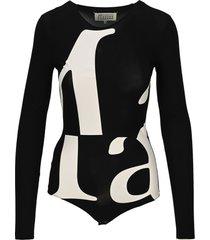 martin margiela logo printed bodysuit
