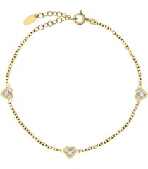 bodifine gold plated sterling silver cz anklet