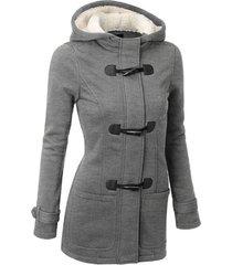 chaqueta abrigo/algodón clásico con gorro manga larga para mujer-gris