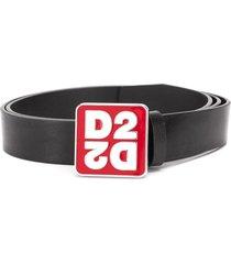 dsquared2 square logo belt - black