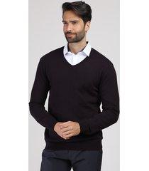 suéter masculino em tricô gola v vinho