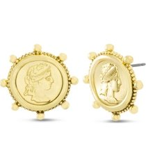 steve madden figure coin post stud earring in yellow goldtone alloy