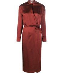 vince thin belt silk dress - red