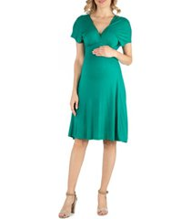 24seven comfort apparel v neck cap sleeve empire waist maternity dress