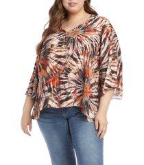 plus size women's karen kane starburst handerchief hem top, size 1x - orange