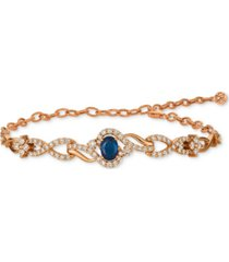 le vian strawberry & nude blueberry sapphire (3/4 ct. t.w.) & diamond (1-1/2 ct. t.w.) link bracelet in 14k rose gold