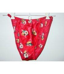 red floral print satin string bikini undie sissy silky lace trim-s/5-nwt