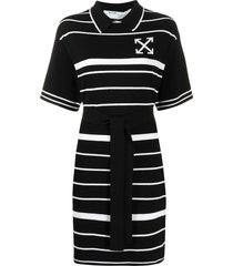off-white striped collared dress - black