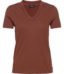 basic v-neck in linen and recycled polyester blend t-shirts & tops short-sleeved brun scotch & soda