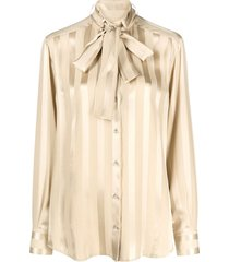 dolce & gabbana lavallière-neck striped blouse - neutrals