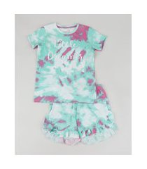 "pijama infantil little dreamer"" estampado tie dye manga curta multicor"""