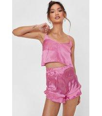 womens cancel all plans petite satin shorts pajama set - pink