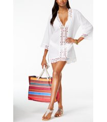 la blanca island fare cotton crochet-trim tunic women's swimsuit