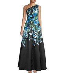 one-shoulder floral flare gown