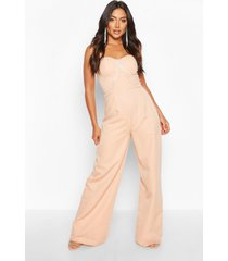 diamante trim sweetheart wide leg jumpsuit, nude