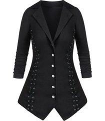 plus size lapel button criss cross coat